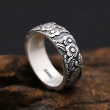 Fine Silver 990 Vintage China Flower Band Rings Men Women Lovers Ring Fine Sterling Silver Jewelry 2017 New Top Quality Gifts(China)