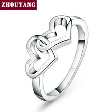 Top Quality Simple style Heart To Heart Ring Rose Gold Color Fashion Jewelry ZYR215 R252