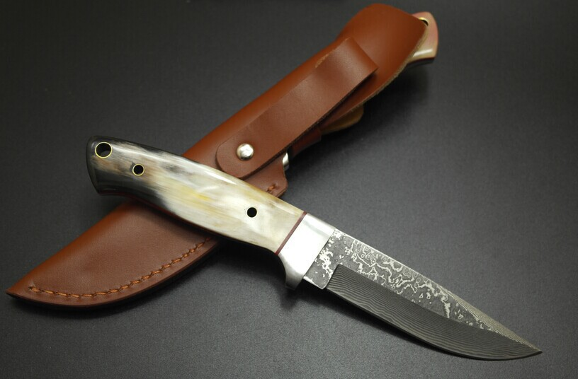 Handmade Damascus Steel Knife Mens Exquisite Collection Fixed Blade Straight Knives Christmas Gift Leathes Sheath<br>
