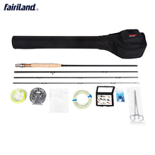 Portable Fly Fishing combo Complete 5/6 4 sections fly rod, Large Arbor fly reel  Lures Set  black case  fly set rod bag