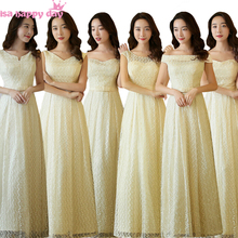 6 design champagne lace up lace lace fancy bridesmaid sister of the bride formal teen dresses from china for weddings B3727