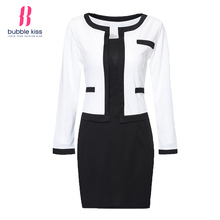 2017 Women Bodycon Dress Office Patchwork Plus size Long Sleeve Formal Work Dress Black White Vintage Midi dresses Vestidos(China)
