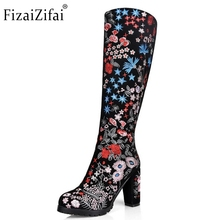 Women Boots Real Leather Knee Boots Ladies High Heel Embroidery Botas Mujer Winter Fashion Zipper Heeled Women Shoes Size 33-43(China)