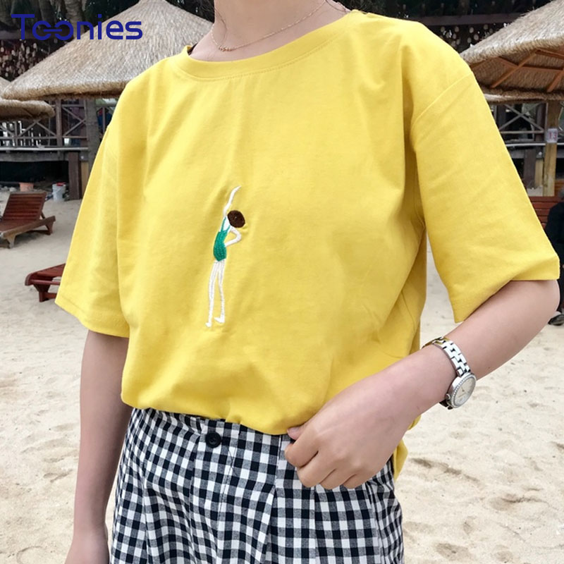 Summer New Kawaii Cartoon Character Embroidered T Shirt O-neck Casual Cute Tee Shirt Short Sleeved T-shirt Woman Clothing Sweet