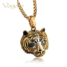 VOGEM Tiger Necklace For Men Stainless Steel Chain Gold Silver Black Colors Punk Animal Head Jewelry Boyfriend Birthday Present