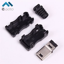 20pcs Mini 5P 4 Button Male Plug Adapter Converter Connector Micro USB 5Pin Male w/Buckle Plastic OTG Shell 4 sets