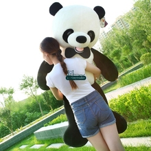 Dorimytrader Huge 140cm Cute Smiling Panda Plush Toy 55'' Giant Animal Pandas Stuffed Kids Play Doll Great Present DY61406(China)