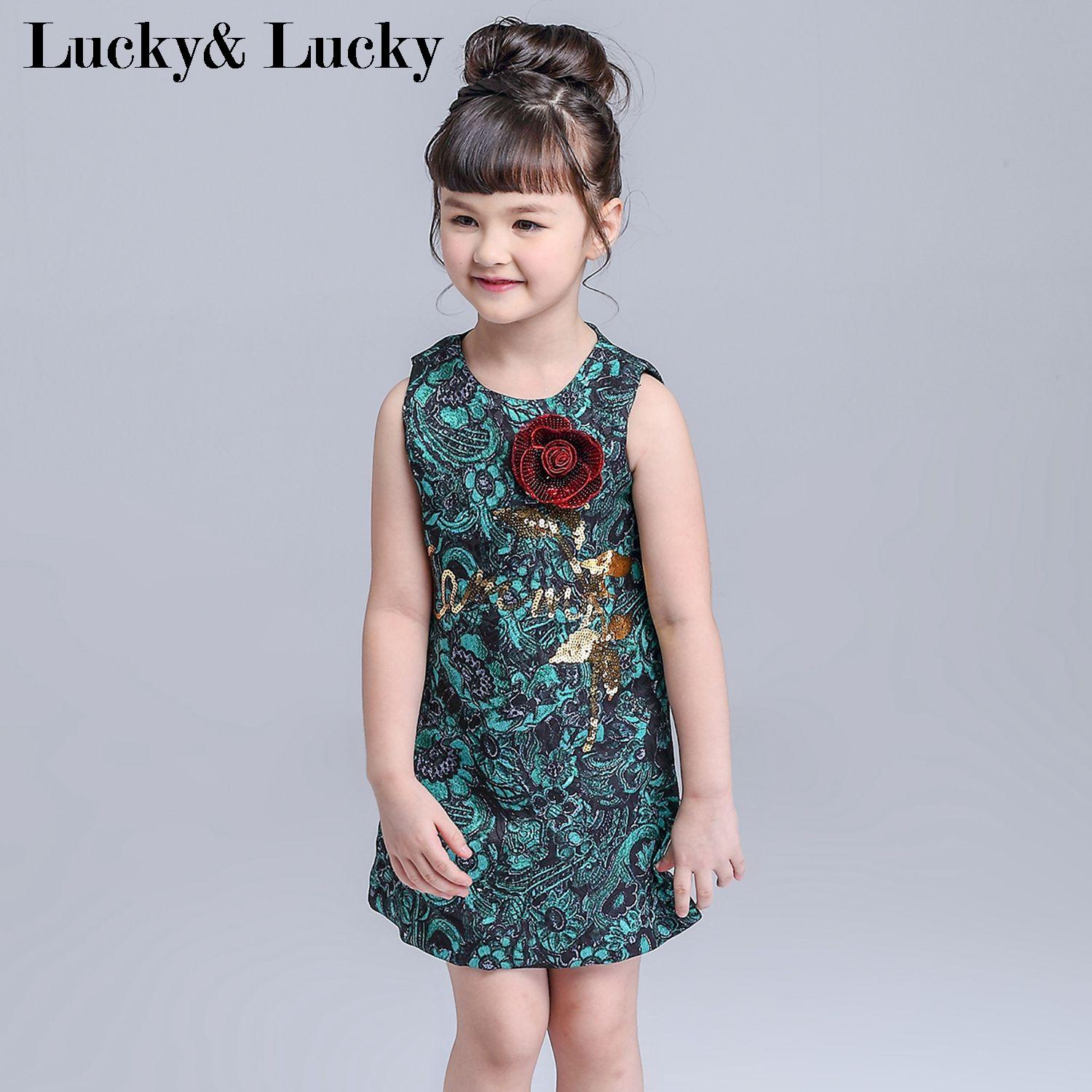 Summer dress Jacquard girls clothes fashion girls dresses with Sequin foral<br><br>Aliexpress