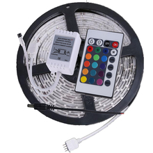 Waterproof IP65 5m LE Strip Light RGB 3528 300leds+24 Key IR Remote Controller Flexible Led Tape RGB Home Decoration Ribbon