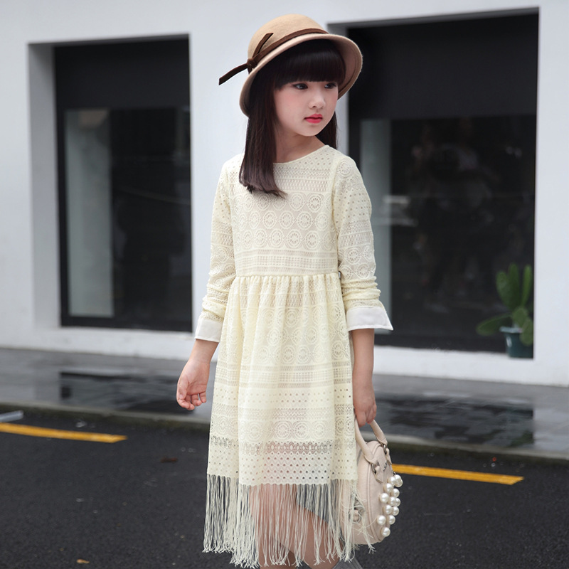 New Trend Baby Girl 2017 Spring Dresses Tassel Decor Kid Lace Dress Children Cotton Princess Style O-neck Clothes<br><br>Aliexpress