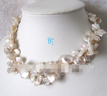 "Free shipping >>@ 1030 18"" 2Row 9-15mm White Reborn Keshi Pearl Necklace Fashion Jewelry(China)"
