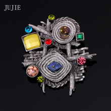 JUJIE Brooches For Women 2016 Vintage Rhinestone Pins Multicolor Natural Stone Brooch Female Geometric Antique Retro Jewelry