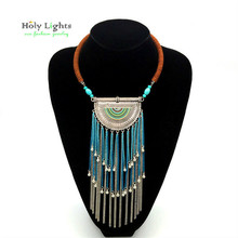 2017 New bohemia necklace&pendants long tassel wax chain marble green necklace boho tribal choker necklace for cowboy jeans hot