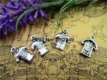 15pcs--Soccer Jersey Charms,3D Antique Silver Soccer Shirt Pendants,Soccer Wear Charms,18x15mm