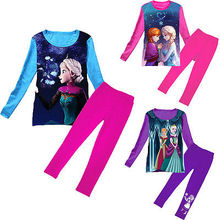 Children Princess Kids Girls Elsa Anna Sister Costumes Pajamas Set Girl Clothing Set Winter Long sleeve Child  Girl Clothes