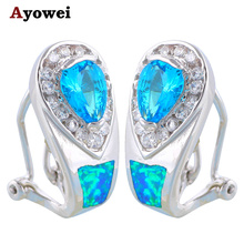 New arrival Welcome to Buy !Gorgeous Blue Zircon Blue Fire Opal Fashion Silver Stamped Clip Earrings Fashion Jewelry OE232A