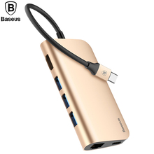Baseus 8in1 USB Type C 3.1 HUB for Type C to 3 USB 3.0 / 4K HDMI / RJ45 Ethernet / Micro SD TF Card Reader / USB Type C OTG HUB(China)