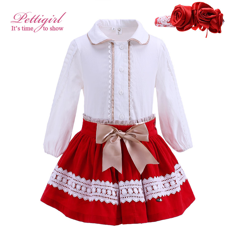 Pettigirl Red Chritmas Girl Clothing Sets With  Hairbands Lace White Blouse And Skirts Bountique Girl Clothing G-DMCS908-891<br><br>Aliexpress