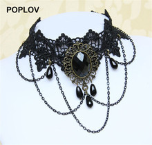 POPLOV Vintage Tattoo Tassel Choker Necklace Gothic Lace Pendant Wedding Chocker Jewelry Women Punk Velvet Collar Jewellery