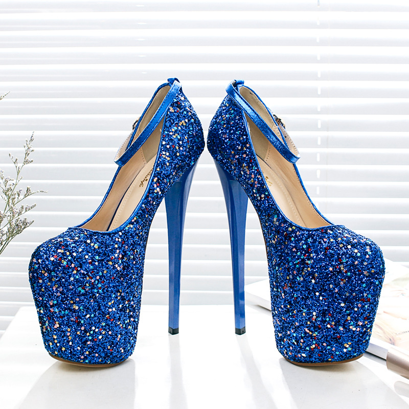 Blue lace heels with bow