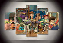 2015 Pixar toy story painting on canvas wall art of 5 pieces canvas picture for wall decor frameless