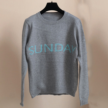 SRUILEE 2 Pieces Rainbow Seven Day Week Sign Letters Color Sweaters Jumper Lovers Couple Pullovers Women Jersey Runway 170226-2(China)