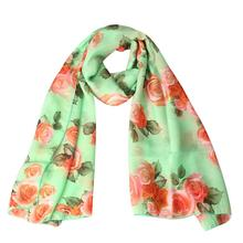 Newly Fashion Stylish Rose Print Womens Voile Long Stole Scarves Floral Shawl Scarf Wrap Lady Shawl Chiffon Scarf Women No83