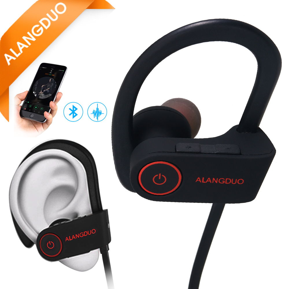 ALANGDUO G6 Wireless Bluetooth Headphones For iphone 7 6 5 Sports Earhooks with Mic Support Noise Cancel Bluetooth Earphones(China)