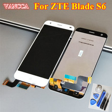 High Quality New LCD Display + Digitizer Touch Screen Glass Assembly For ZTE Blade S6 / Q5 Cell Phone 5.0 inch White Color