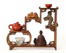 Chinese red wings of wood furniture, wood carving wood curio shelf Shelf antique frame dock