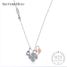 SILVERHOO Women Flower Bee Pendant Necklace 925 Sterling Silver Multicolor Zircon Fine Jewelry Collar Necklace Women Accessories(China)