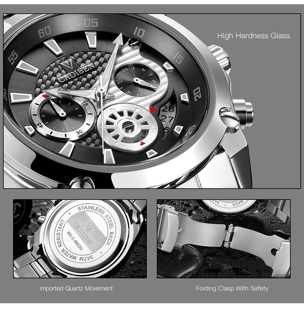 Top Brand Luxury CADISEN Mens Watch Full Steel Sport Watches Fashion Quartz Military Wrist Watch Relogio Masculino Waterproof 6