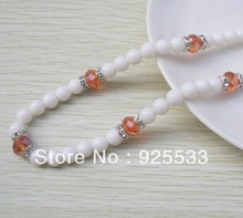 Free shipping white acrylic beads & skin red crystal beads beaded stretch necklace DIY fashion jewerly