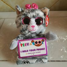 TY PEEK A BOOS 1PC 15CM poo panda molly cat SCOUT HUSKY DOG Mobile Phone Holder seat Stuffed animals KIDS TOYS VALENTINE GIFT