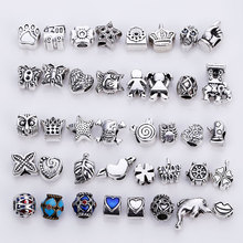 Mixed Beads Fit Pandora Charms Antique Silver Metal Zinc Alloy DIY Charms Spacer Beads & Jewelry Making 40pcs/lot B8759(China)