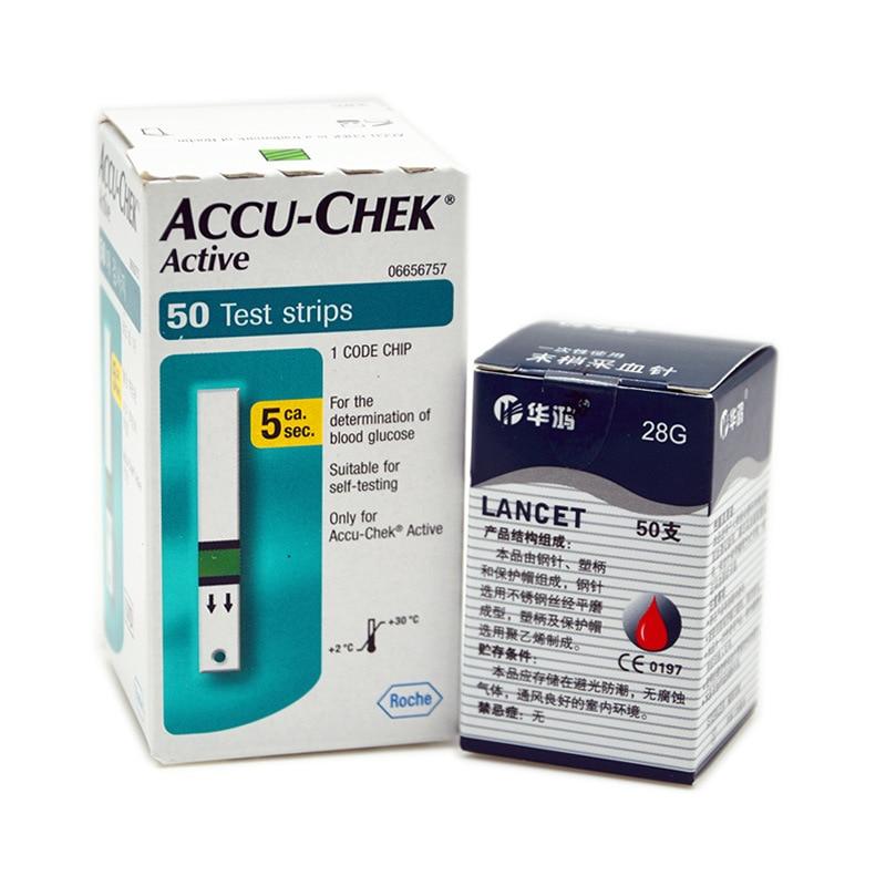 Hot Sale Accu-Chek Active Glucometer Blood Glucose Meter Diabetes Test Strips 50pcs + Free Lancets 50pcs  For Health Care<br>