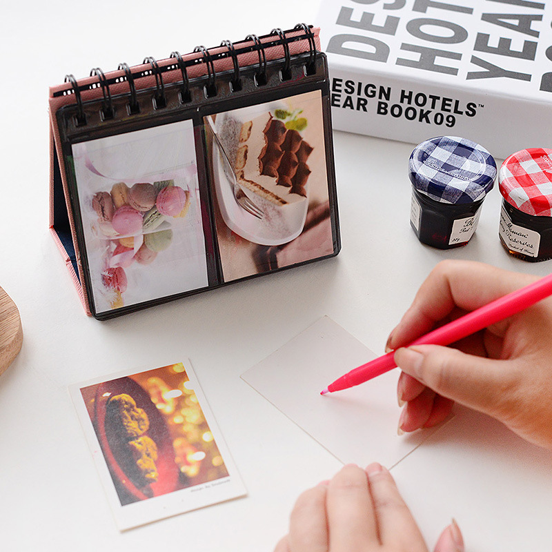 New Arrival 7 Colors Can Chose PVC Leather Loose-leaf Holds 68 Pieces 3 Inch Photos Pictures Mini Desktop Polaroid Photo Album(China)