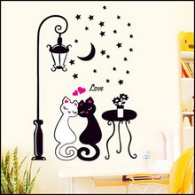 by DHL or EMS 200 pcs Home Decoration Moon Star Cute Couples Love Cats Decals Children's Rooms Decor DIY Removable Wall Sticker(China)