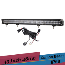 480w Combo LED Light 45 Inch 4D Lens Offroad Bar 12v 24v Suv Truck 4x4 Wagon 4WD Pickup Car Driving Lamp LED Work Light for Jeep