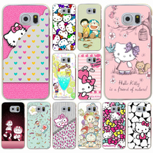Animation Hello Kitty mobile phone bag Hard Transparent for Galaxy S3 S4 S5 & Mini S6 S7 S8 edge S6 Edge Plus