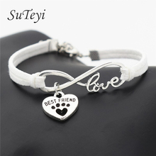 SUTEYI Fashion Women Leather Personalized Antique Silver Pets Dogs Lover Cat Animal Bear Paw Charms Pendant Love Bracelet(China)