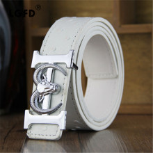 LGF1332 Ostrich  goat head buckle fashion dress  belt