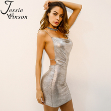 Jessie Vinson Women Bling Package Hip Mini Dress Backless Chains Cross Strap Bandage Dresses Sleeveless Low Cut Vestido Sexy(China)