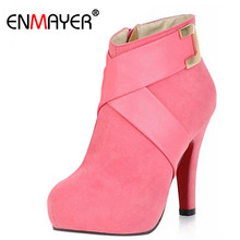 ENMAYER Pumps Black Red Pink Ankle Boots Women Fashion Short Boot Winter High Heels Shoes Sexy Snow Warm Martin Boots Size34-43