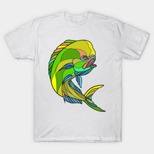 2017 Summer Newest Men Funny Printed T-Shirt Short Sleeve Mahi-Mahi Dorado Dolphin Fish Drawing Design T Shirt Hipster Tops Tees