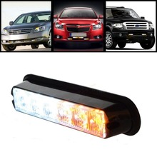 White & Amber 6 LED Warning Beacon Emergency Car Truck Strobe Flash Light Bar