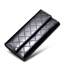 GZL Genuine leather women long wallet hasp shiny black wallets diamond pattern purse female card holders solid color gold WB0005