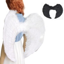 Chic Feather Fairy Angel Wings Festival Cosplay Beauty Dress Up White/Black