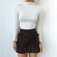 Buy LOSSKY Rib Knitted Basic Long Sleeve T Shirt Women 2018 Autumn Ruffles High Neck Slim Tops Winter Female White fashion Tee Shirt for $6.43 in AliExpress store