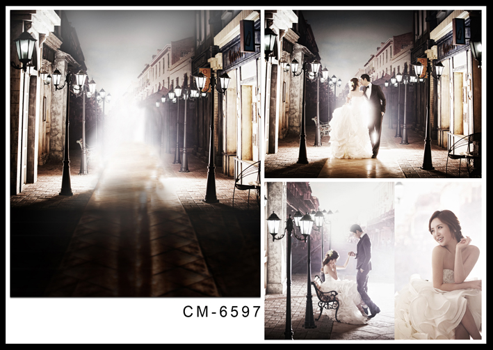 Dark Night Long Street Photography Backdrops Modern City Wedding Photo Background for Studio Street Lamp Digital Backdrops<br>